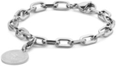 Zilveren CO88 Collection Charms 8CB 90551 Stalen schakel armband - bedel rond - 20 cm