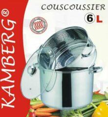 Zilveren Amberg Couscous pan 3 in 1 Couscoussier - Roestvrij staal 6L