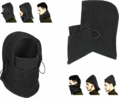 Zwarte AA Commerce 3-In-1 Fleece Balaclava Winter Muts Face Mask Nek Warmer - Thermo Helmmuts Capuchon Masker