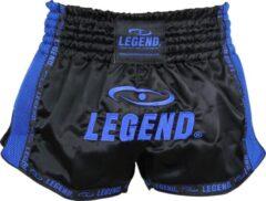 Legend Sports Kickboksshort Unisex Satijn Zwart/blauw Maat S
