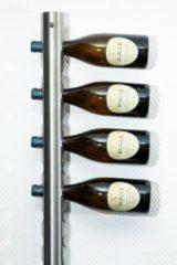Roestvrijstalen Ferro Duro Wijnrek voor aan de muur - geschikt voor 20 flessen - RVS - flessenrek