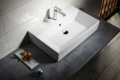 Aqualine Sistema keramische wastafel 70x42cm wit