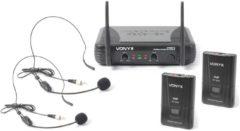 Zwarte Vonyx STWM712H 2-kanaals VHF Draadloos Microfoonsysteem met headsets