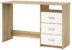 Young Furniture Bureau Aristote 123 cm breed in geborsteld eiken met wit