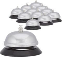 Zilveren Relaxdays 12 x tafelbel verchroomd, receptiebel, hotelbel, schoolbel, balie bel