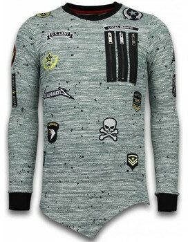 Afbeelding van Local Fanatic Longfit Asymmetric Embroidery - Sweater Patches - US Army - Groen Sweaters / Crewnecks Heren Sweater Maat XL