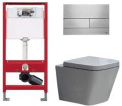 Douche Concurrent Tece Toiletset - Inbouw WC Hangtoilet wandcloset - Alexandria Tece Square RVS geborsteld