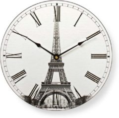 Nedis Circular Wall Clock | 30 cm Diameter | Eiffel Tower Image