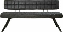 Duverger® Retro - eetkamerbank - L 150cm - PU wax met kruistiksel - zwart - open rug