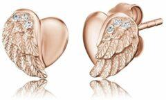 Goudkleurige Engelsrufer Oorbellen ERE-LILHEARTWING-STR - Roségoud verguld sterling zilver