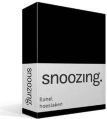 Snoozing Flanel Hoeslaken - 100% Geruwde Flanel-katoen - Lits-jumeaux (200x210/220 Cm) - Zwart