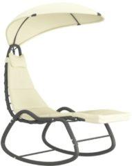 Creme witte VidaXL Tuinschommelstoel 160x80x195 cm stof crème