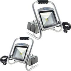 Ledino LED-Strahler, mit Bodenständer und 2-fach Steckdose, 30 oder 50 W, silber Größe: 50 Watt