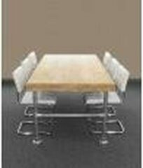Bruine Van Abbevé Set tafel en stoelen Kantinetafel Van Steigerhout En Steigerbuis Inclusief 8 Buisframe Vergaderstoelen