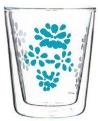Blauwe Zak designs Zak!Designs - Lily Dubbelwandige Koffiebeker - Borrosilicaat Glas - 200 ml - Aqua blauw
