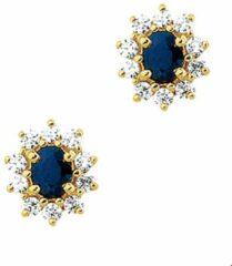 Blauwe SPARKLE14 The Jewelry Collection Oorknoppen Saffier En Zirkonia - Geelgoud