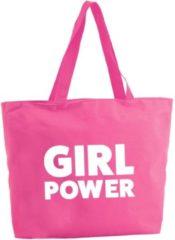 Shoppartners Girl Power shopper tas - fuchsia roze - 47 x 34 x 12,5 cm - boodschappentas / strandtas