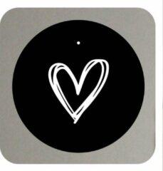 Muurcirkel - Hart - 30 cm - roundie zwart industrieel wit met tekst / quote / symbool -- Liefss muurcirkel van dibond / aluminium