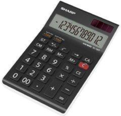 Bureaurekenmachine Sharp EL-124 TWH Zwart Aantal displayposities: 12 werkt op zonne-energie, werkt op batterijen (b x h x d) 97 x 25 x 155 mm