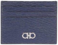 Blue SALVATORE FERRAGAMO Porta Carte Di Credito Revival Gancini In Pelle