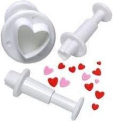 Witte Qatrixx Heart Shaped Plunger Cutter Small, set van 3