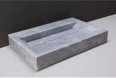 Licht-grijze Wastafel Forzalaqua Bellezza Cloudy Marmer Gezoet 60x40x9 cm Met Kraangat