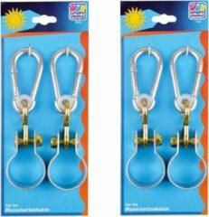 Merkloos / Sans marque 6x Schommelhaken met bevestigingsring en karabijnhaak - diameter bevestigingsring 5 cm - voor ophangen en bevestigen van schommels / voorwerpen - schommelhaken / karabijnhaken