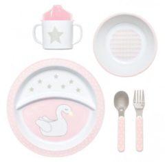 Jabadabado Eetset Zwaan – Roze Kinderservies – 5-delig