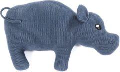 Smallstuff Decoratiekussen Gehaakt Nijlpaard Blauw 41 X 36 Cm