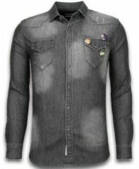 Grijze Overhemd Lange Mouw Bread Buttons Denim Shirt - Spijkerblouse Slim Fit - 3 Buttons