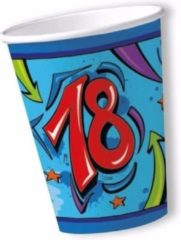 Papieren bekers 18 jaar thema blauw 10x stuks - Verjaardag feestartikelen