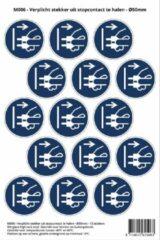 Blauwe Stickerkoning Pictogram sticker M006 - Verplicht stekker uit stopcontact te halen - 50 x 50mm - 15 stickers op 1 vel
