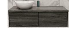 Boss & Wessing Badkamermeubel BWS Madrid Washed Oak 120 cm met Massief Topblad en Keramische Waskom Links (2 lades, 1 kraangat)