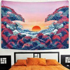 Blauwe Ulticool - Natuur Golven Zon Zee - Wandkleed - 200x150 cm - Groot wandtapijt - Poster - Roze
