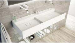Ideavit SolidBliss Wastafel 120x45x16cm 0 kraangaten Solid surface mat wit Solidbliss-120D