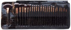 Zwarte Rio BRST - Professionele Make up borstel set 24 delig- incl luxe reistas