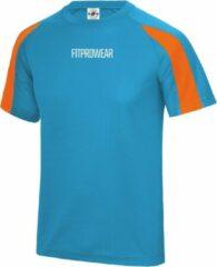 FitProWear Contrast Sportshirt Heren Lichtblauw/Oranje - Maat XXL - Sportshirt - T-Shirt - Sportkleding - Sportshirt korte mouwen - Sportshirt Polyester - Heren Shirt