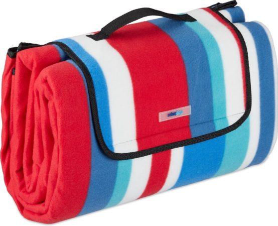 Afbeelding van Relaxdays Picknickkleed waterdicht - 200x200 - fleecedeken - outdoor kleed - rood-blauw