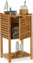 Naturelkleurige Relaxdays badkamerkast bamboe - badkamermeubel - 3 etages - badkamerrek - badkamer kast