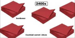 Bordeauxrode DIDI 2400x Cocktail servet 24cm 2 laags bordeaux- tissue servetten diner takeaway feest event festival