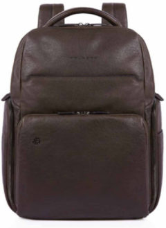 Donkerbruine Piquadro Black Square Computer iPad Backpack RFID Dark Brown
