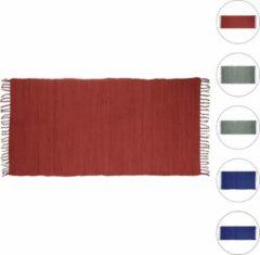 Relaxdays - patchwork kleedje met franjes - vloerkleed - tapijt - loper - katoen Blauw, 70x140cm