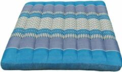 Lichtblauwe DeSfeerbrenger Kussen - Stoelkussen - Zitkussen - Meditatiekussen Thais design Blauw-Grijs 50 x 50 cm