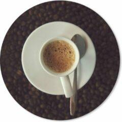 MousePadParadise Muismat Espresso - Kopje espresso op koffiebonen Muismat rond - 20x20 cm - Muismat met foto