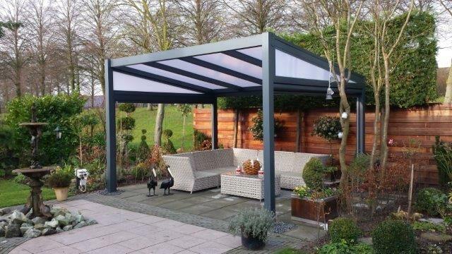 Afbeelding van Van Kooten Tuin en Buitenleven Profiline terrasoverkapping - vrijstaand - 400x300 cm - polycarbonaat dak