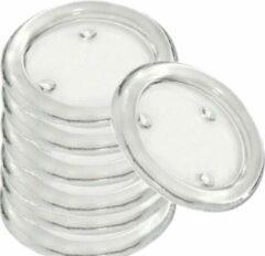 Transparante Trend Candles 12x Ronde kaarsenhouders/kaars onderzetters van glas 14 cm - Glazen kaarsenhouders voor stompkaarsen tot 10 cm doorsnede - Woondecoraties