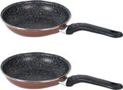 Gerim Set van 2x stuks aluminium professionele bruine koekenpan Burgos met anti-aanbak laag 28 cm - Hapjespannen