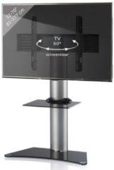TV-Standfuß LED Ständer Fernseh Standfuss Alu Glas Universal 'Zental Zwischenboden' Universell VESA VCM Schwarzglas