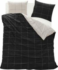 Homéé® Dekbedovertreksets Hollandse carré - lits-jumeaux 240x200/220 cm +2 slopen - 100% fijne Katoen - double face - zwart / wit