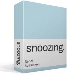 Snoozing flanel hoeslaken - 100% geruwde flanel-katoen - Lits-jumeaux (180x210/220 cm) - Hemel